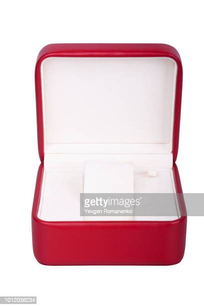 opened red watch box on white background - lid stock photos and pictures