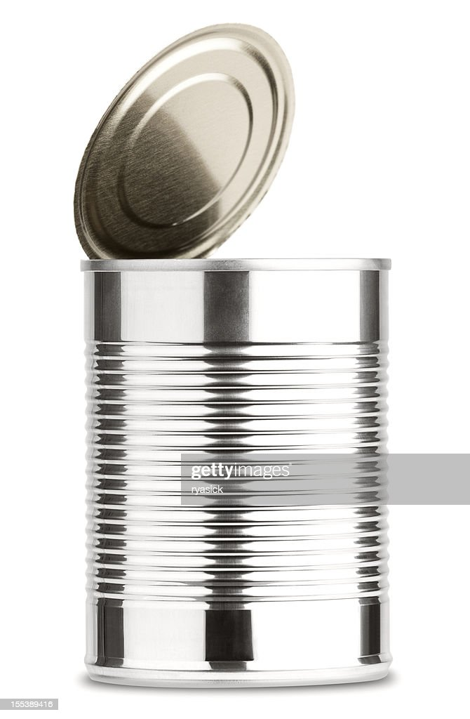 Opened Shiny Aluminum Tin  Can Without Label Isolated on White : Stock Photo