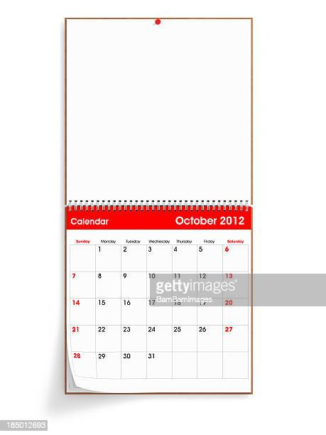 opened wall calendar - october 2012 - month stock pictures, royalty-free photos & images