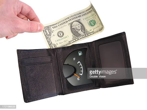 Opened Wallet or Billfold with Gauge Indicating Out of Money