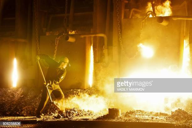 Openhearth steelmaking process at the Vyksa Steel Works in Russia's Nizny Novgorod region on March 2 2018 The plant is to shut down its openhearth...