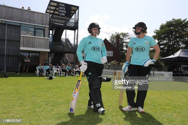 Opening batters lizelle lee and Bryony Smith of Surrey walk out during the Kia Super League match between Surrey Stars and Yorkshire Diamonds at...