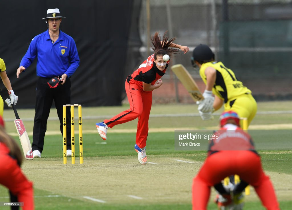 SA opening bowler Megan Schutt during the WNCL match between South Australia and Western Australia at Adelaide Oval No.2 on October 6, 2017 in Adelaide, Australia.