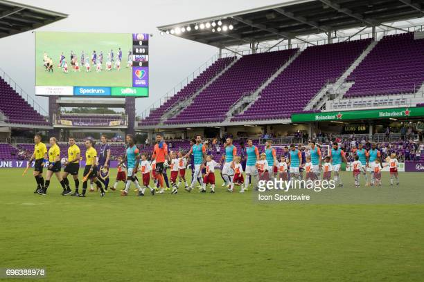 Opening ceremonies before the Open Cup soccer match between Miami FC and Orlando City SC on June 14 2017 at Orlando City Stadium in Orlando FL