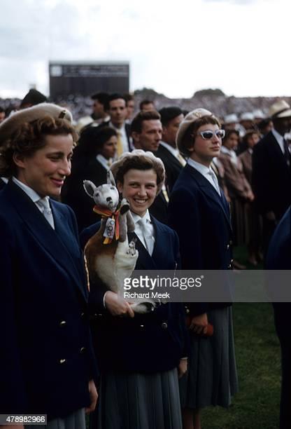 1956 Summer Olympics Members of Team Australia with stuffed toy kangaroo at Melbourne Cricket Ground Stadium Melbourne Australia CREDIT Richard Meek