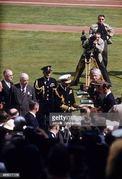 1956 Summer Olympics United Kingdom HRH Prince Philip Duke of Edinburgh in white hat during the ceremonies with President of the Games Robert Menzies...