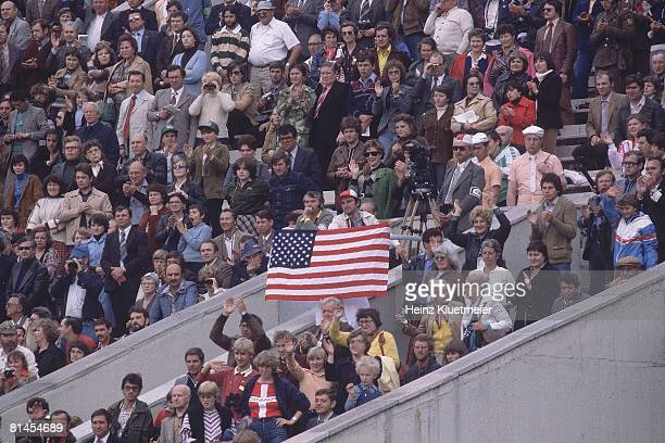 Opening Ceremony 1980 Summer Olympics View of fans with USA flag at Lenin Stadium Moscow USR 7/19/19808/3/1980