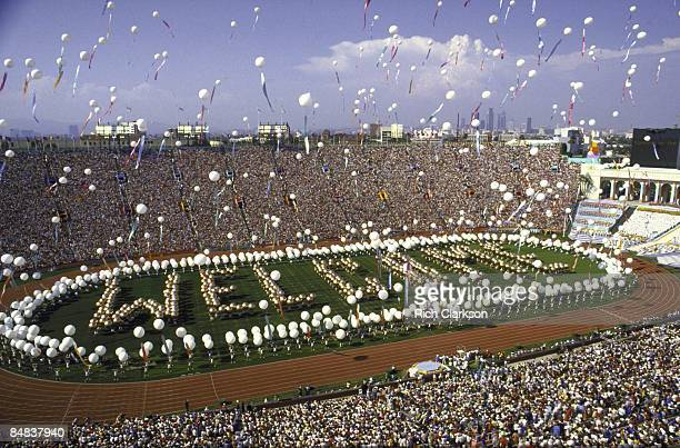 1984 Summer Olympics Overall view of people spelling out WELCOME on field at Memorial Coliseum Los Angeles CA 7/28/1984 CREDIT Rich Clarkson