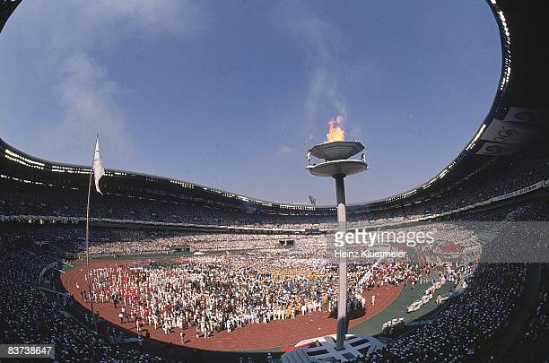 1988 Summer Olympics Overall view of Olympic Flame and cauldron at Olympic Stadium Seoul South Korea 9/17/1988 CREDIT Heinz Kluetmeier