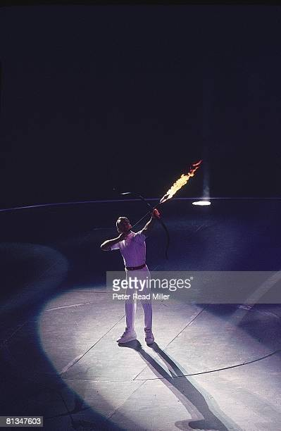 Opening Ceremony 1992 Summer Olympics Paralympic archer Antonio Rebollo shooting lit arrow and lighting flame at Olympic Stadium Barcelona Spain...