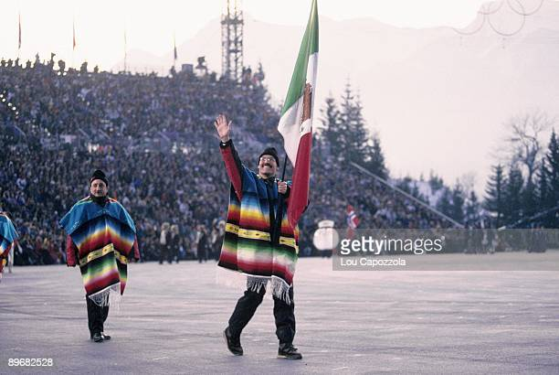 1992 Winter Olympics Team Mexico flag bearer Roberto Alvarez leading delegation during athlete procession at Theatre des Ceremonies Albertville...