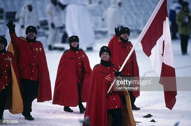 1994 Winter Olympics Team Canada flag bearer Kurt Browning leading delegation during athlete procession at Lysgardsbakken Stadion Lillehammer Norway...