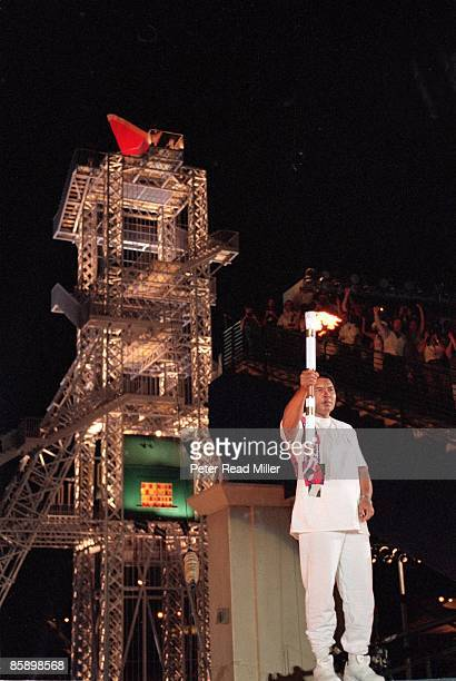 1996 Summer Olympics View of Muhammad Ali carrying torch with flame at Centennial Olympic Stadium Atlanta GA 7/19/1996 CREDIT Peter Read Miller