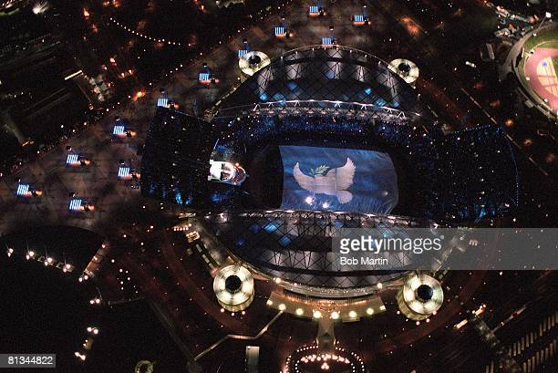 Opening Ceremony 2000 Summer Olympics Aerial scenic view of Olympic Stadium at night Sydney AUS 9/15/2000