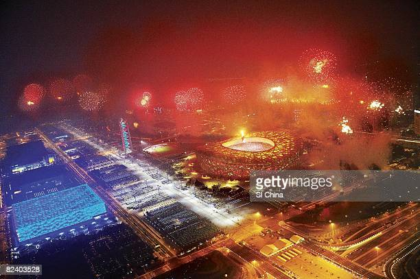 2008 Summer Olympics Aerial scenic view of fireworks over National Stadium View of National Aquatics Center at Olympic Green Beijing China 8/8/2008...