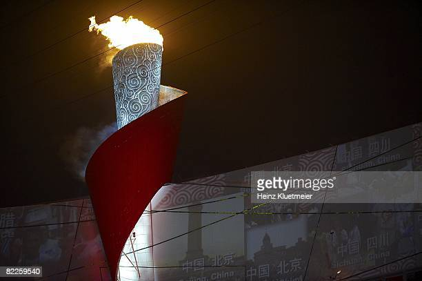 2008 Summer Olympics Scenic view of Olympic flame cauldron at National Stadium Beijing China 8/8/2008 CREDIT Heinz Kluetmeier