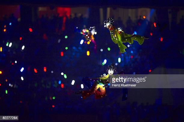 2008 Summer Olympics View of floating performers at National Stadium Beijing China 8/8/2008 CREDIT Heinz Kluetmeier
