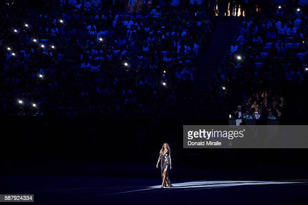 2016 Summer Olympics Overall view of celebrity supermodel Gisele Bundchen on stage walking as The Girl From Ipanema during the Bossa segment of...