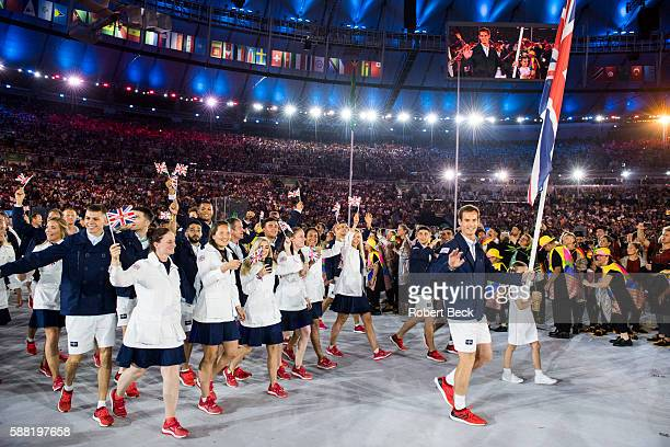 2016 Summer Olympics Team Great Britain tennis player and national flag bearer Andy Murray leads team during Parade of Nations at Maracana Stadium...