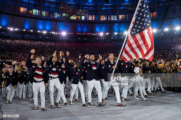 2016 Summer Olympics Team USA swimmer and national flag bearer Michael Phelps leads team during Parade of Nations at Maracana Stadium Rio de Janeiro...