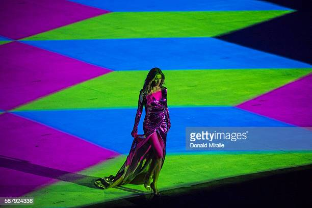 2016 Summer Olympics View of celebrity supermodel Gisele Bundchen on stage walking as The Girl From Ipanema during the Bossa segment of ceremonies at...