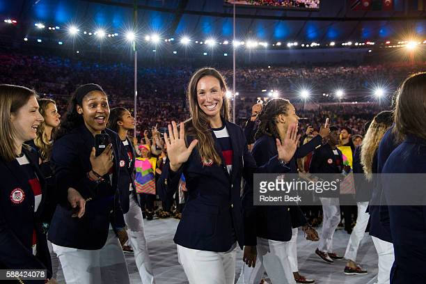 2016 Summer Olympics View of Team USA basketball player Maya Moore and USA soccer player Whitney Engen during Parade of Nations at Maracana Stadium...
