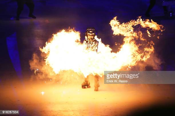 2018 Winter Olympics View of dancer performing with fire during ceremony at PyeongChang Olympic Stadium PyeongChang South Korea 2/9/2018 CREDIT Erick...