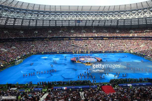 Opening ceremony during the 2018 FIFA World Cup Russia Final between France and Croatia at Luzhniki Stadium on July 15 2018 in Moscow Russia
