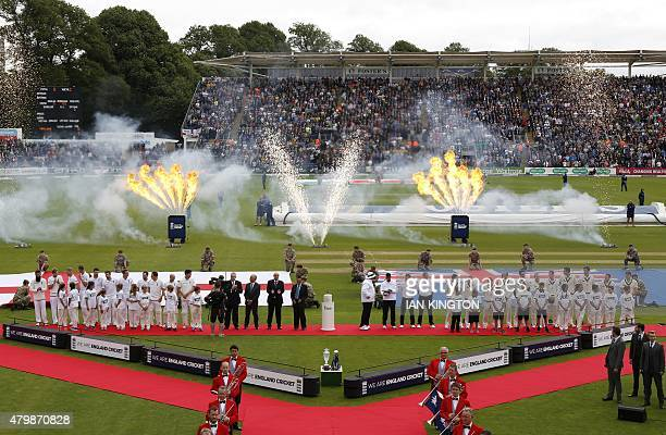 Opening ceremony fireworks go off ahead of play on the first day of the opening Ashes cricket test match between England and Australia at The Swalec...