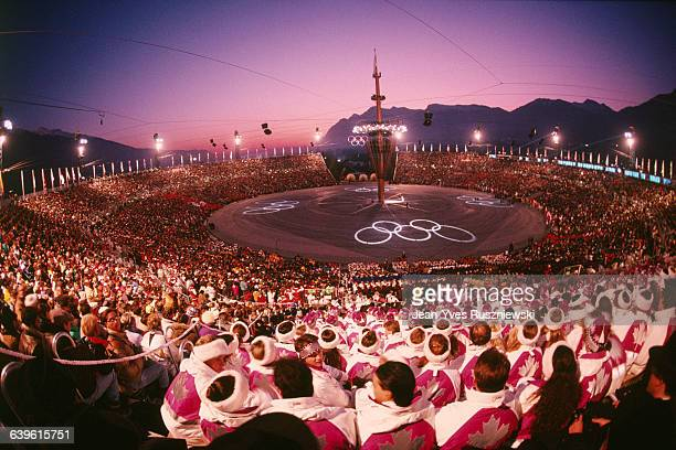 Opening Ceremony of the 1992 winter Olympic Games in Albertville.