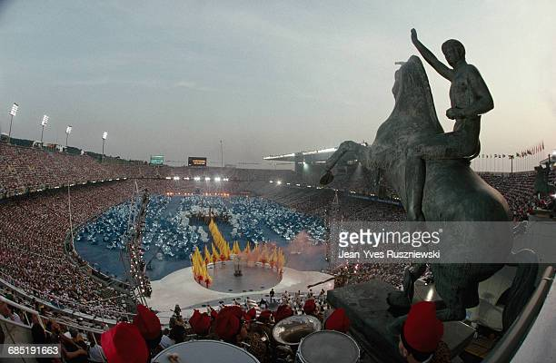 Opening ceremony of the Summer Olympic Games in Barcelona Statue overlooking audience | Location Barcelona Spain