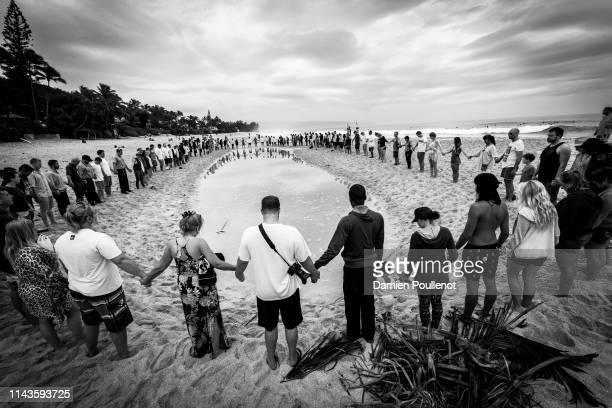 Opening Ceremony to mark the start of the 2016 Billabong Pipe Masters with a blessing with Lindy Irons Bruce Irons and Axel Irons in attendance
