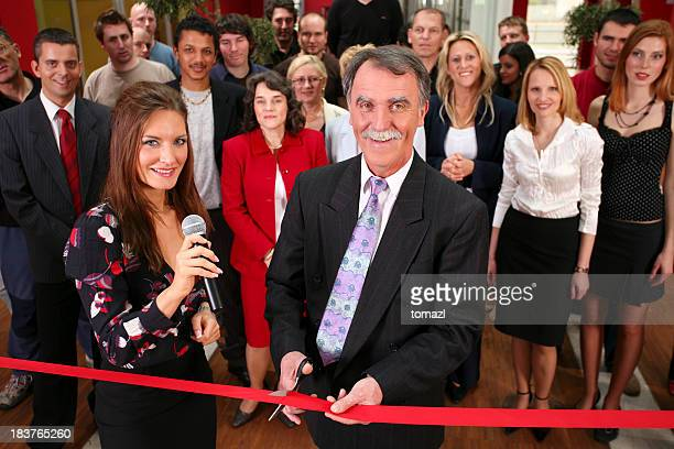 opening ceremony with ribbon cutting. - opening ceremony stock pictures, royalty-free photos & images