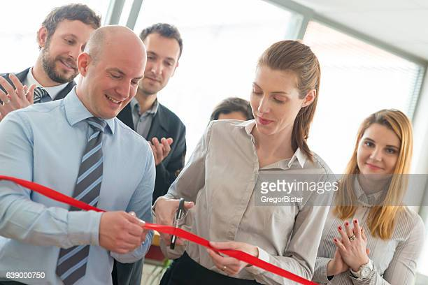 opening ceremony with ribbon cutting - ribbon cutting stock pictures, royalty-free photos & images