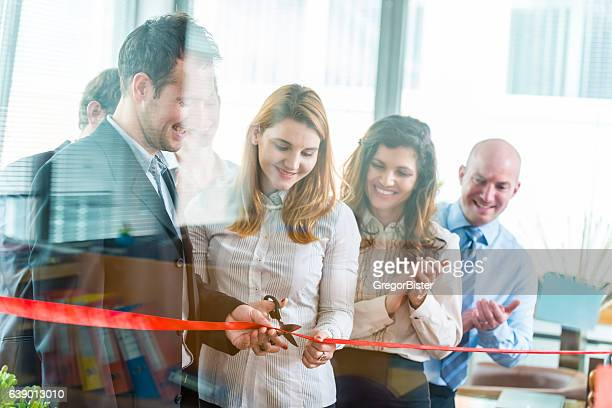 opening ceremony with ribbon cutting - opening event stock pictures, royalty-free photos & images