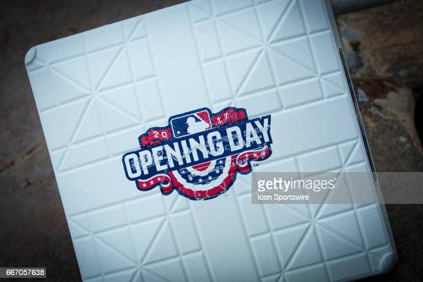 Opening day base during the Kansas City home opening game between the Oakland Athletics and the Kansas City Royals on April 10 2017 at Kauffman...