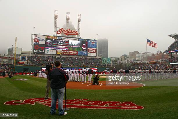 Opening Day ceremonies take place before the game between the Cleveland Indians and the Minnesota Twins at Jacobs Field in Cleveland Ohio on April 7...