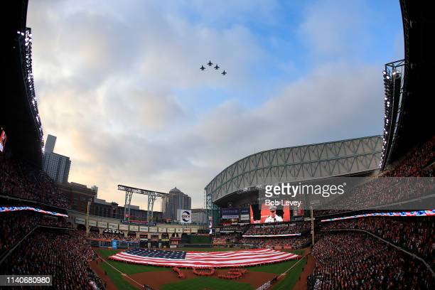 Opening Day ceremonies with flyover at Minute Maid Park on April 05 2019 in Houston Texas