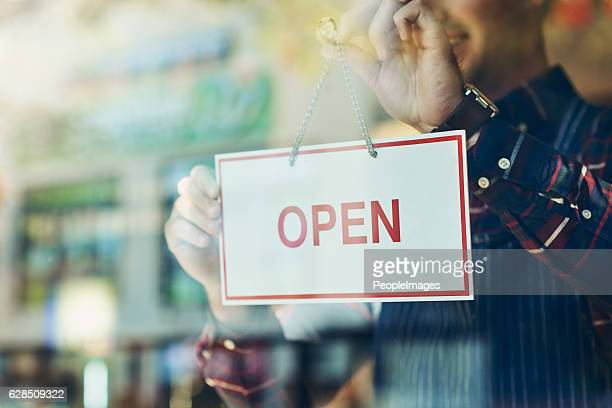 opening day has arrived - business owner stock photos and pictures