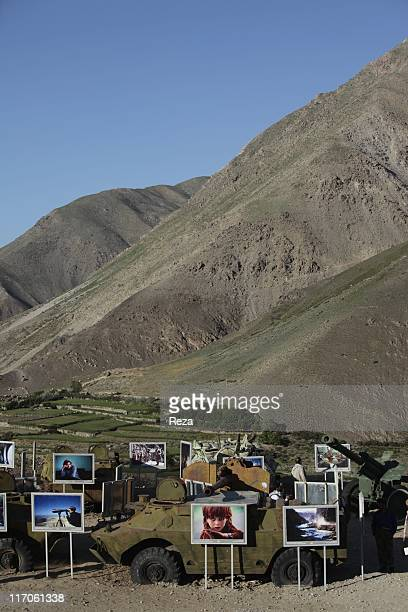 Opening day of the exhibition organized by Reza at the site of the tomb of Commander Massoud May 22 2009 in the Panjshir Valley Afghanistan Over...