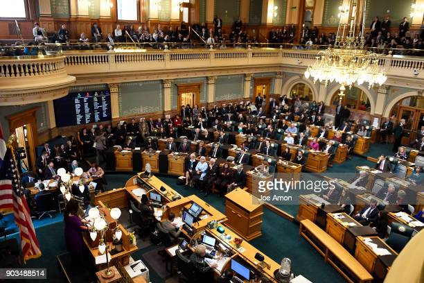 Opening day of the second session of the 71st General Assembly in the House of Representatives at the Colorado State Capitol January 10 2018 in...