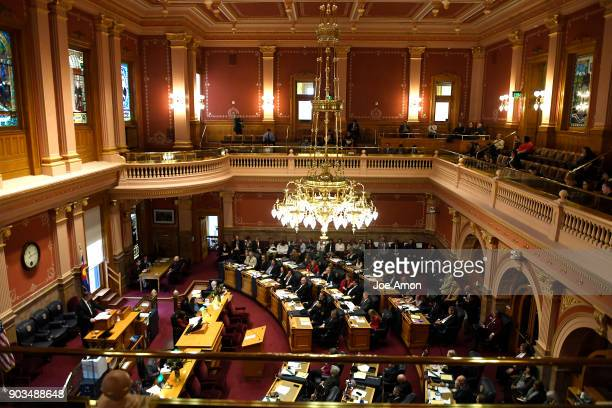 Opening day of the second session of the 71st General Assembly in the Senate at the Colorado State Capitol January 10 2018 in Denver Colorado