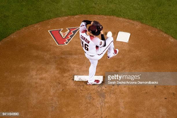 Opening Day starting pitcher Patrick Corbin of the Arizona Diamondbacks prepares to deliver a pitch during a game against the Colorado Rockies at...