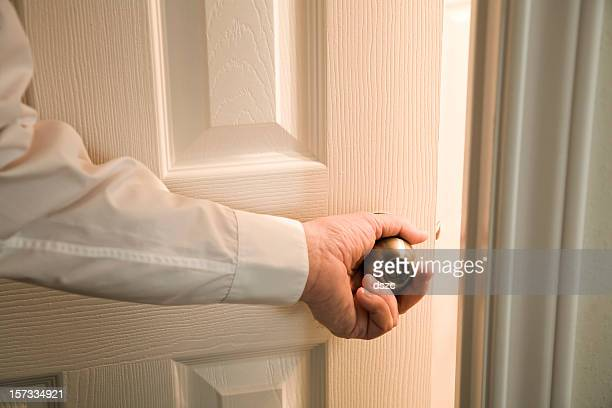 opening door into light unknown room - closing stock pictures, royalty-free photos & images