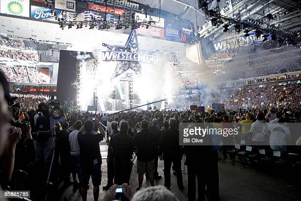 Opening fireworks as WrestleMania 25 at Reliant Stadium begins on April 5 2009 in Houston Texas