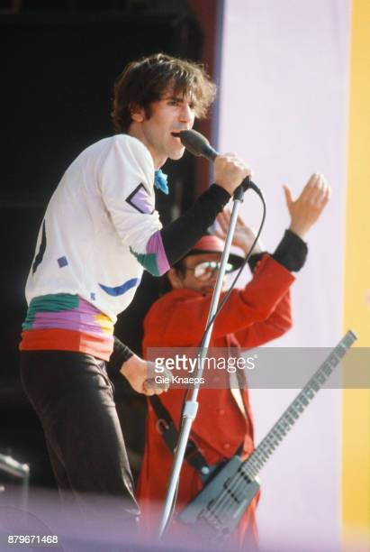 Opening for The Rolling Stones Peter Wolf Danny Klein The J Geils Band performing on stage Feyenoord Stadion Rotterdam Netherlands 5th June 1982