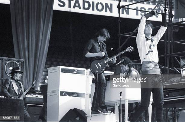Opening for The Rolling Stones Peter Wolf John Geils Danny Klein Seth Justman The J Geils Band performing on stage Feyenoord Stadion Rotterdam...