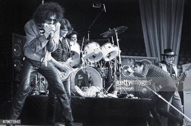 Opening for The Rolling Stones Peter Wolf John Geils Magic Dick Danny Klein Stephen Jo Bladd The J Geils Band performing on stage Feyenoord Stadion...