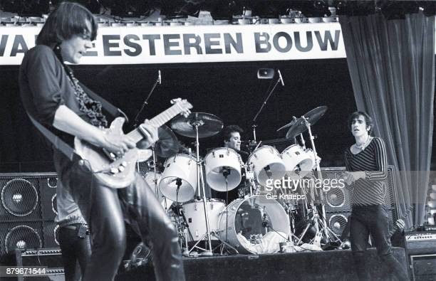 Opening for The Rolling Stones Peter Wolf John Geils Stephen Jo Bladd The J Geils Band performing on stage Feyenoord Stadion Rotterdam Netherlands...