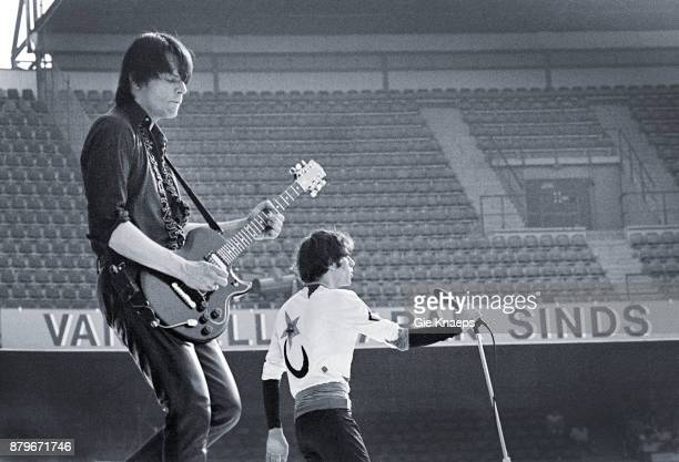 Opening for The Rolling Stones Peter Wolf John Geils The J Geils Band performing on stage Feyenoord Stadion Rotterdam Netherlands 5th June 1982